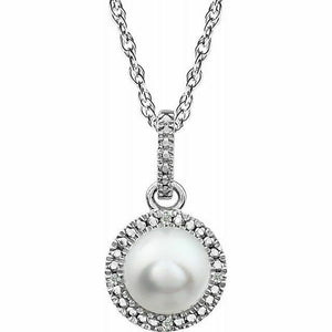 Freshwater Pearl Diamond Halo Pendant Necklace Sterling Silver NEW Round 18 Inch