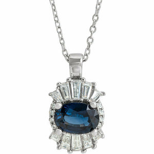 Genuine Sapphire and 1/4 Carat Diamond Platinum Halo Pendant Necklace New in Box