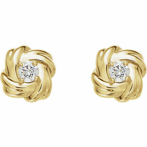 Diamond Yellow Gold Knot Stud Earrings Genuine New Solid Round Full Cut