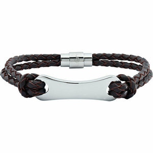 "ENGRAVABLE Dark Brown Leather & Stainless Steel 8.5"" Bracelet"