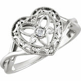 Heart Filigree Ring Sterling Silver
