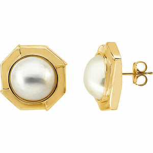 NEW Mabe Pearl Yellow Gold Button Stud Earring 14K Cultured USA Made Solid White