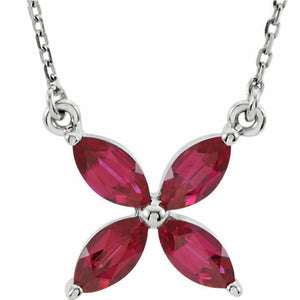 Ruby Flower Pendant Necklace White Gold July Birthstone
