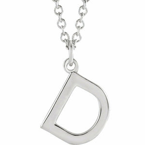 D Initial Pendant Necklace Sterling Silver New 18 inch chain