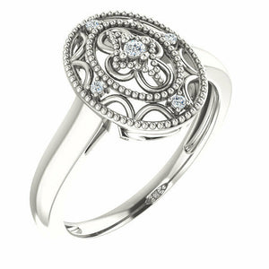 Diamond Filigree Oval Ring Size 7 Sizeable Sterling Silver NEW Solid Genuine