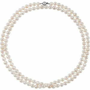 Freshwater Cultured Pearl Long 42 Inch Strand Sterling Silver Clasp New 8-9mm