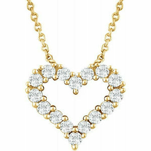 Diamond Heart Pendant Necklace Yellow Gold NEW 14K 1/4 Carat USA Made 18""