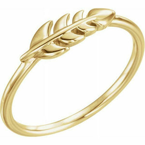 Leaf Ring Yellow Gold New in Box Size 7 Sizeable 14K Solid