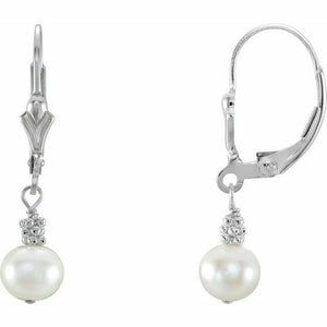 White Cultured Pearl Leverback Earrings New Made in USA