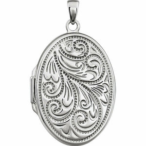 Sterling Silver Oval Filigree Locket New Engraved