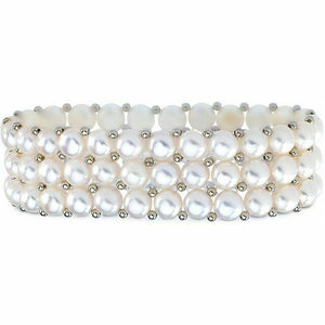 White Triple Row Freshwater Pearl and Sterling Silver Stretch Bracelet New