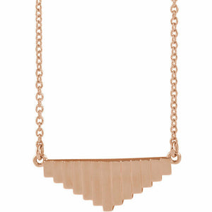 Pyramid Steps Horizontal Pendant Rose Gold 14K 18 Inches