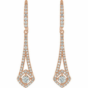 Diamond Chandelier Earrings Rose Gold 14K Genuine 3/4 TCW