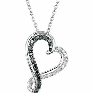Black and White Diamond Heart Pendant Necklace Sterling Silver NEW 18 Inch chain