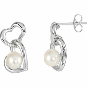 Double Heart Pearl Post Drop Dangle Earrings NEW Sterling Silver .925 USA Made