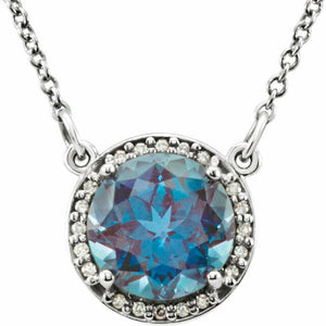 Alexandrite Diamond Halo Pendant White Gold Necklace June Birthstone New In Box