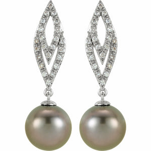 Tahitian Pearl and Diamond Earrings White Gold 14K