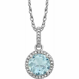 Aquamarine Diamond Halo Pendant Necklace Sterling Silver NEW Round 18 Inch