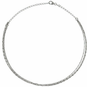 Sterling Silver 3-Strand Bead Chain Choker