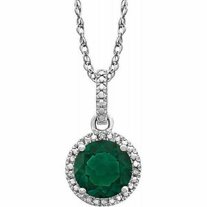 Emerald Diamond Halo Pendant Necklace