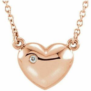 "Rose Gold Diamond Pendant Necklace NEW 16.5"" 14K USA Made"