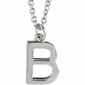 B Initial Pendant Necklace Sterling Silver New 18 inch chain