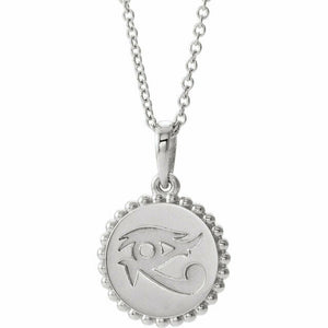 Eye of Horus Sterling Silver Pendant Necklace New Egyptian Wealth Health Power