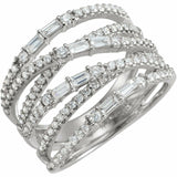 1 Carat Diamond White Gold Crisscross Negative Space Ring Sizeable New in Box