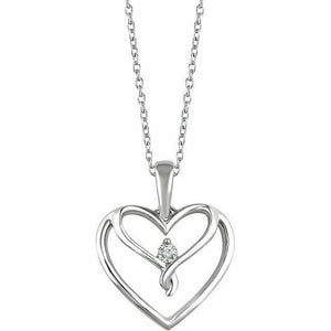 Diamond Silver Heart Pendant Necklace