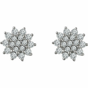 Diamond Stud Earrings in White Gold Diamond Earrings Cluster Earrings