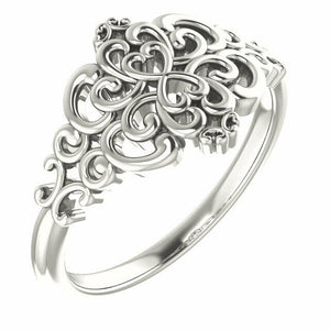 Sterling Silver Heart Scroll Ring