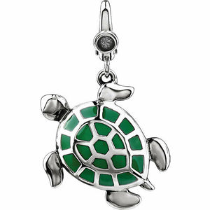 Turtle Charm Sterling Silver Green Enamel New in Box Solid Made in USA