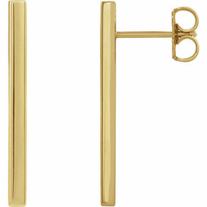 Yellow Gold Bar Earrings 24mm Long 14K Dangle Studs
