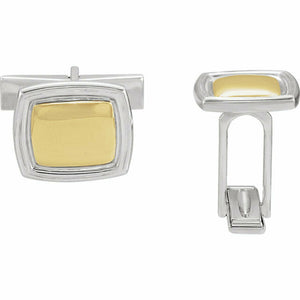 Square Two Tone Sterling Silver & 14K Gold Cuff Links