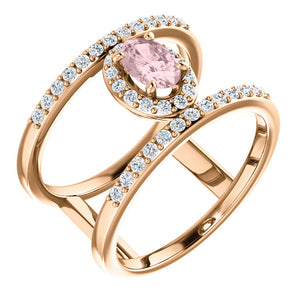 Rose Gold Morganite & Diamond Negative Space Ring