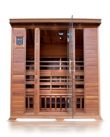 "SunRay 4 Person Cedar Sequioa Infrared Sauna (HL400K) (75""H x 69""W x 53""D)-Bath Parlor"