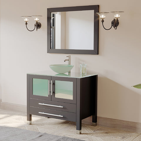 "Image of 36"" Vessel Sink Set - Cambridge Plumbing Espresso Solid Wood Glass with a Brushed Nickel Faucet - 8111-B-BN (36""L x 26""D x 36""H) - Bath Parlor"