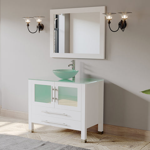"Image of 36"" Single Vessel Sink Bathroom Vanity Set - Cambridge Plumbing White Solid Wood & Glass with a Polished Chrome Faucet and Drain - 8111BW-CP (36""L x 26""D x 36""H) - Bath Parlor"