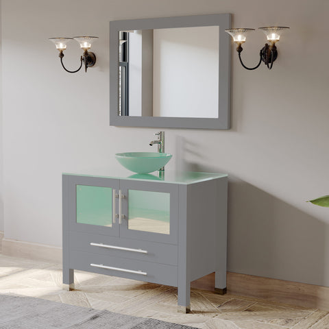 "Image of 36"" Vessel Sink Bathroom Vanity Set - Cambridge Plumbing Gray Wood & Porcelain with Polished Chrome Plumbing - 8111BG (36""L x 26""D x 36""H) - Bath Parlor"