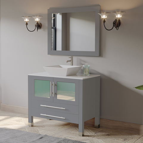 "36"" Bathroom Vanity Set - Cambridge Plumbing Gray Wood & Porcelain Vessel Sink with Brushed Nickel Plumbing - 8111G- BN (36""L x 21""D x 34""H) - Bath Parlor"
