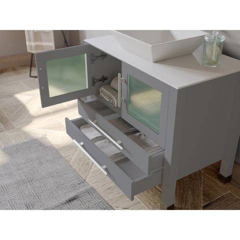 "Image of 36"" Bathroom Vanity Set - Cambridge Plumbing Gray Wood & Porcelain Vessel Sink with Brushed Nickel Plumbing - 8111G- BN (36""L x 21""D x 34""H) - Bath Parlor"