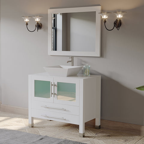 "Image of 36"" Single Vessel Sink Bathroom Vanity Set - Cambridge Plumbing White Solid Wood & Porcelain with a Brushed Nickel Faucet and Drain - 8111W- BN (36""L x 21""D x 34""H) - Bath Parlor"
