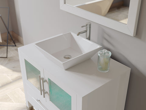 "Image of 36"" Single Vessel Sink Bathroom Vanity Set - Cambridge Plumbing White Solid Wood & Porcelain with a Polished Chrome Faucet and Drain - 8111W (36""L x 21""D x 34""H) - Bath Parlor"