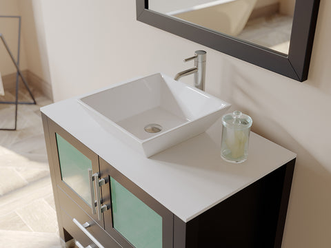 "Image of 36"" Single Vessel Sink Bathroom Vanity Set - Cambridge Plumbing Solid Wood & Porcelain with a Polished Chrome Faucet - 8111 (36""L x 21""D x 34""H) - Bath Parlor"