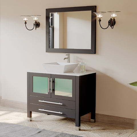 "36"" Single Vessel Sink Bathroom Vanity Set - Cambridge Plumbing Solid Wood & Porcelain with a Polished Chrome Faucet - 8111 (36""L x 21""D x 34""H) - Bath Parlor"