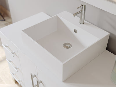 "48"" Single Vessel Bathroom Vanity Set - Cambridge Plumbing White Wood & Porcelain with Brushed Nickel Faucet - 8116W-BN (48""L x 20""D x 36""H) - Bath Parlor"