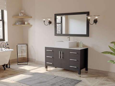 "48"" Single Bathroom Vanity Set - Cambridge Plumbing Espresso Wood Porcelain with a Polished Chrome Faucet - 8116 (48""L x 20""D x 36""H) - Bath Parlor"
