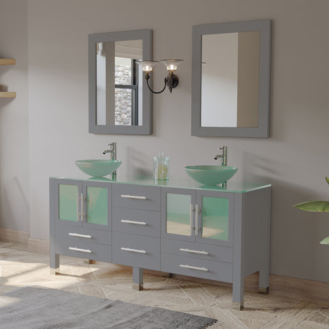 "Image of 48"" Vessel Sink Bathroom Vanity Set - Cambridge Plumbing Gray Wood & Porcelain with Polished Chrome Plumbing - 8116B-G (48""L x 20""D x 36""H) - Bath Parlor"