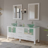 "63"" Double Bathroom Vanity Set - Cambridge Plumbing White Wood and Glass Vessel Sink with a frosted glass countertop and two matching vessel sinks. Two tall faucet chrome -  8119BW - Bath Parlor"
