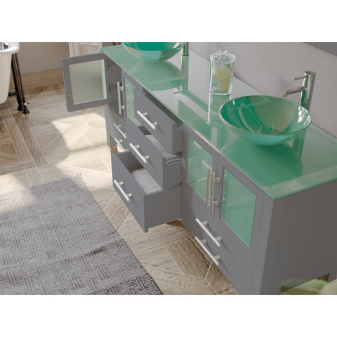 "Image of 71"" Double Bathroom Vanity Set - Cambridge Plumbing Gray Wood & Glass Vessel Sink with Polished Chrome Plumbing - 8119BXLG - Bath Parlor"